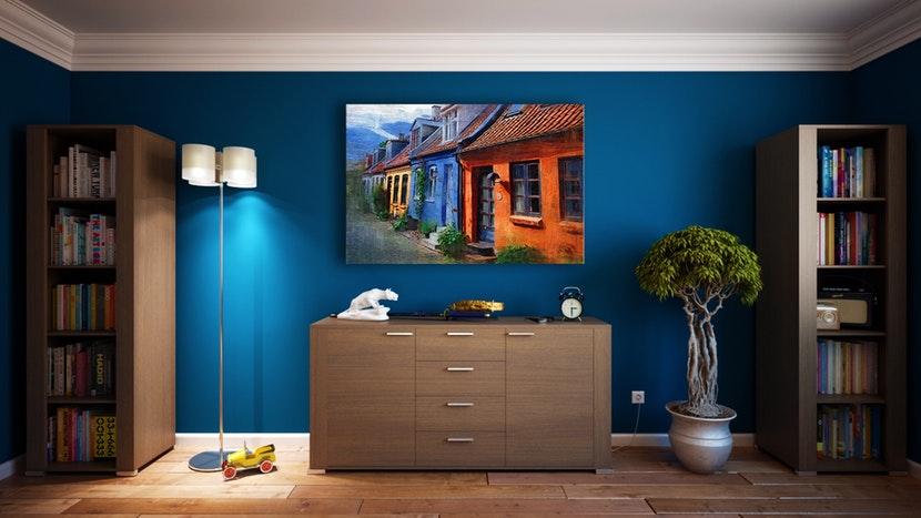 pièce bleue architecture d'intérieur